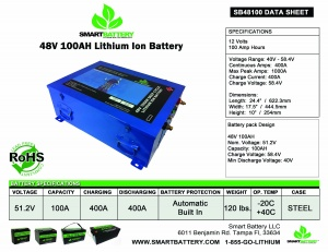 48V 100AH Deep Cycle Lithium Ion Battery Data Sheet Smart Battery®