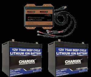 24V 75AH Group 24 Deep Cycle Lithium Ion Battery Kit